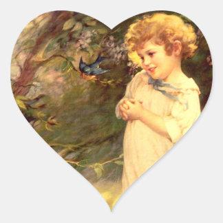 Victorian cutie with birds sticker