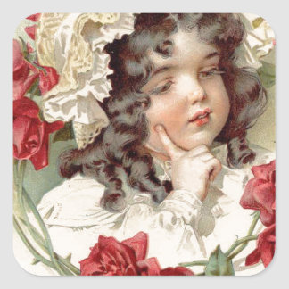 Victorian cutie with red roses square sticker