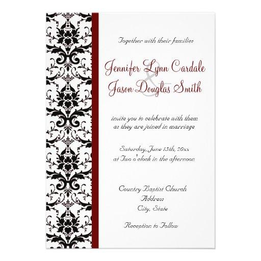 Victorian Damask Black White Red Stripe Wedding 5x7 Paper Invitation Card