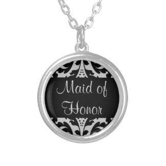 Victorian damask maid of honor silver plated necklace