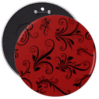 Victorian Damask, Ornaments, Swirls - Red Black Button