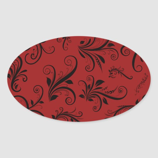 Victorian Damask, Ornaments, Swirls - Red Black Oval Sticker