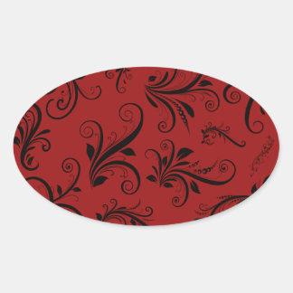 Victorian Damask, Ornaments, Swirls - Red Black Sticker