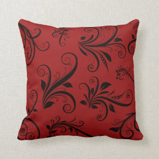 Victorian Damask, Ornaments, Swirls - Red Black Throw Pillow