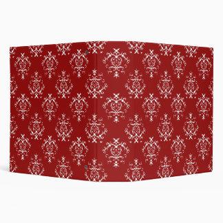 Victorian Damask, Ornaments, Swirls - Red White 3 Ring Binder