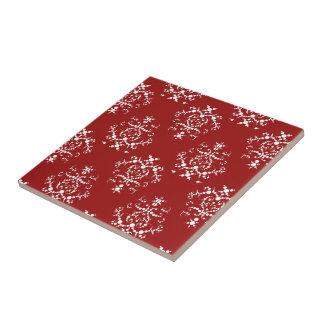 Victorian Damask, Ornaments, Swirls - Red White Ceramic Tile