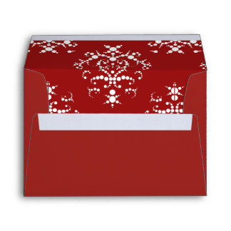 Victorian Damask, Ornaments, Swirls - Red White Envelope