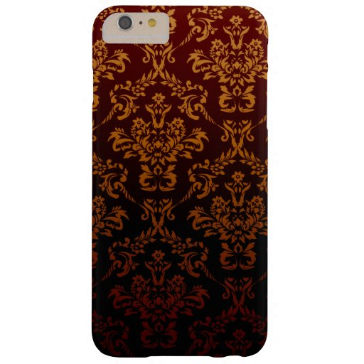 Victorian Damask, Ornaments, Swirls - Red Yellow Barely There iPhone 6 Plus Case