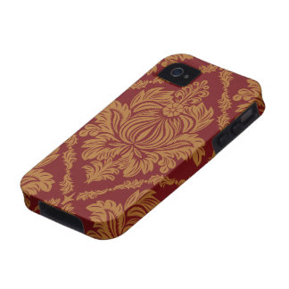 Victorian Damask, Ornaments, Swirls - Red Yellow iPhone 4/4S Cases