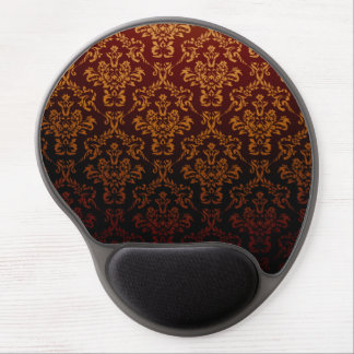 Victorian Damask, Ornaments, Swirls - Red Yellow Gel Mouse Pad