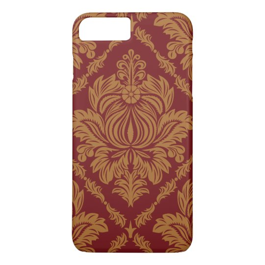 Victorian Damask, Ornaments, Swirls - Red Yellow iPhone 7 Plus Case