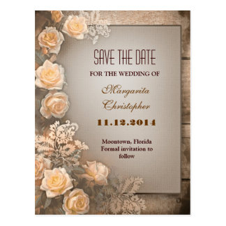victorian damask roses save the date postcards