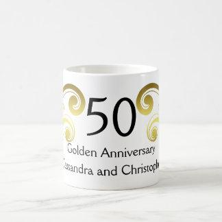 Victorian damask swirls golden wedding anniversary coffee mug