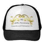 Victorian damask swirls golden wedding anniversary trucker hat