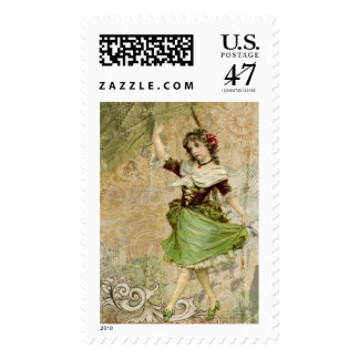 Victorian Dancing Girl Green Red Rose $0.47 Postage