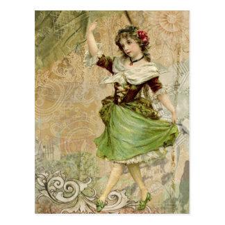 Victorian Dancing Girl Green Red Rose Postcard