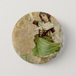 Victorian Dancing Girl in Green St. Patrick's Day Button
