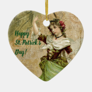 Victorian Dancing Girl in Green St. Patrick's Day Ceramic Ornament