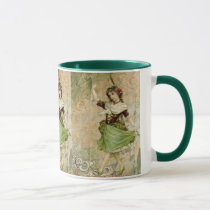 Victorian Dancing Girl in Green St. Patrick's Day Mug