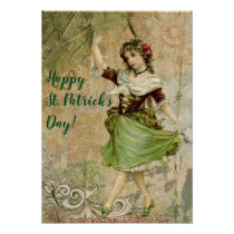 Victorian Dancing Girl in Green St. Patrick's Day