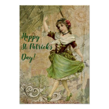 Art Themed Victorian Dancing Girl in Green St. Patrick's Day Poster
