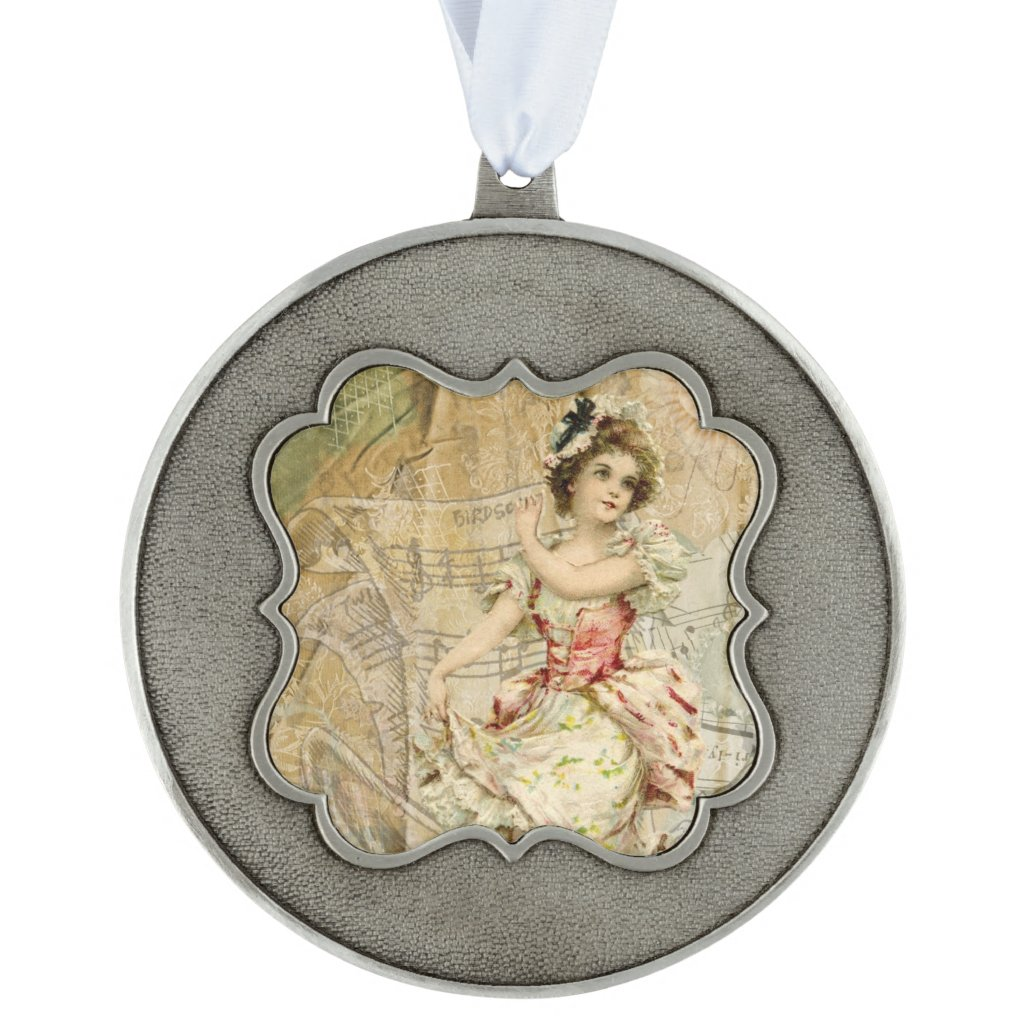 Victorian Dancing Girl Sheet Music Ornament