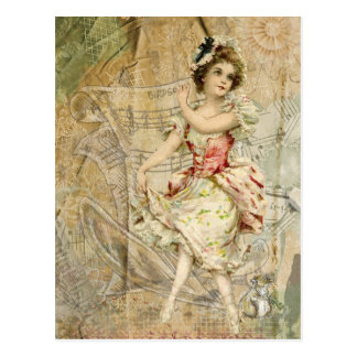 Victorian Dancing Girl Sheet Music Postcard