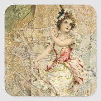 Victorian Dancing Girl Sheet Music Stickers