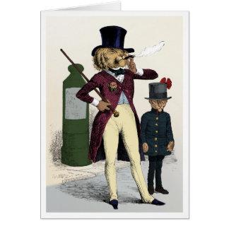 Victorian dandy lion smoking a cigar greeting card