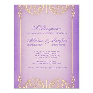Victorian de Nouveau: Boda bonito de la lila y del Invitación 10,8 X 13,9 Cm