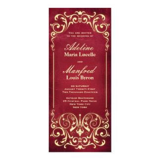 Victorian de Nouveau: Rojo y boda del oro Invitación 10,1 X 23,5 Cm