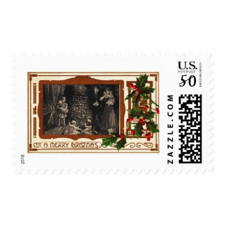 Victorian Deco Christmas Family Holly Postage