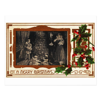 Victorian Deco Christmas Vintage Holly Family Postcard