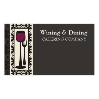 victorian decorative food wine catering biz card Double-Sided standard business cards (Pack of 100)