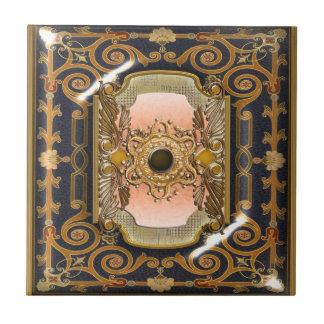 Victorian del vintage del marrón azul elegante azulejo ceramica