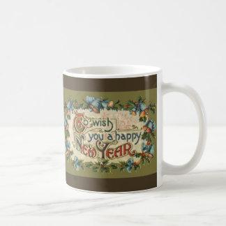 Victorian del vintage, desearle una Feliz Año Taza Clásica