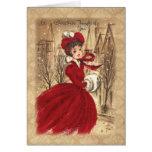 Victorian del vintage navidad pensado en usted tarjeta de felicitación