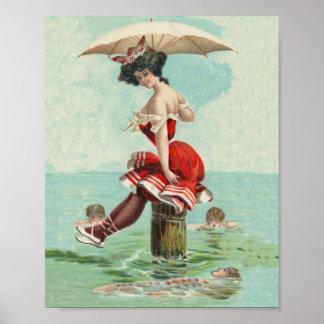 Victorian del vintage que baña a señora Ocean de l Póster