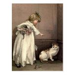 Victorian del vintage y lindo: Aquí gatito, gatito Tarjeta Postal