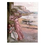 Victorian del vintage y lindo: Niños en la playa Tarjeta Postal