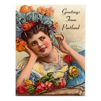 Victorian del VINTAGE y rosas Portland O POSTAL