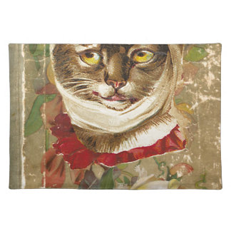 Victorian Dentist Toothache Cat Floral Book Cloth Placemat