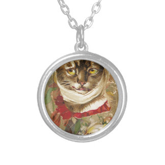 Victorian Dentist Toothache Cat Floral Book Round Pendant Necklace