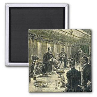 Victorian Dinner Party Vintage Illustration 2 Inch Square Magnet