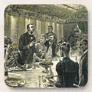 Victorian Dinner Party Vintage Illustration Coaster