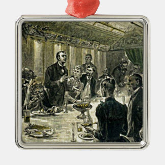Victorian Dinner Party Vintage Illustration Metal Ornament