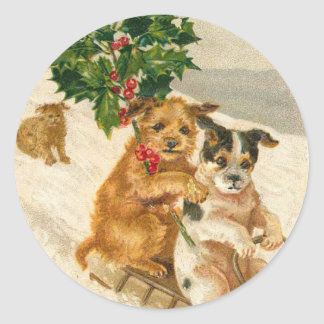 Victorian Dog Christmas sticker