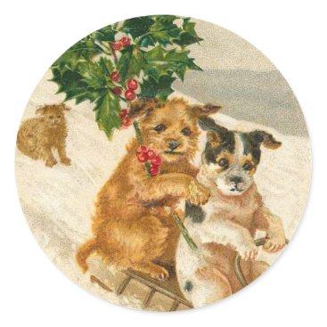 Christmas Themed Victorian Dog Christmas sticker