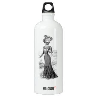 Victorian dog portrait mixed media print water bottle