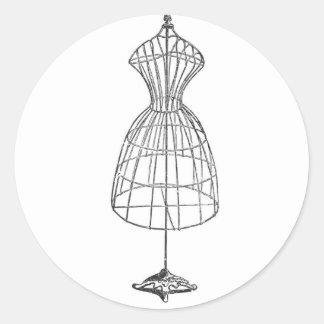 Victorian Dress Form Classic Round Sticker